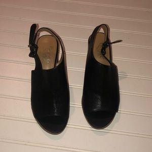 Franco Sarto black open toed leather heels nwot